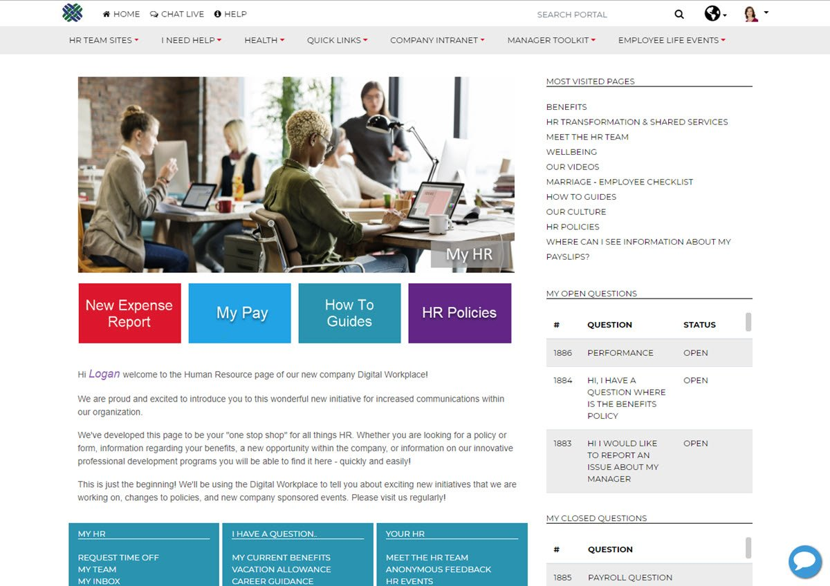 Dovetail Employee Portal Home